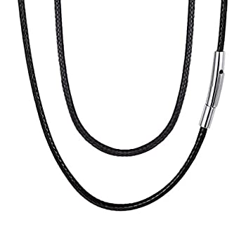 FaithHeart Cord Necklace for Men 2MM Black Wax Rope Chain Necklaces 18 in Neck Jewelry Charms for Women with Sturdy Stainless Steel Clasp
