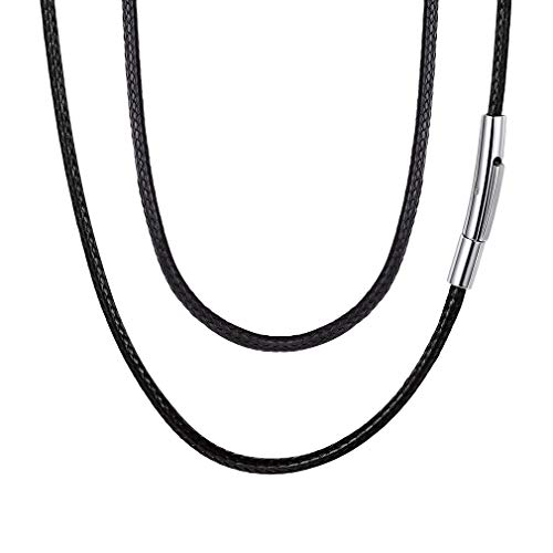 FaithHeart Braided Leather Cord Necklace with Stainless Steel Durable Snap Clasp, 2mm Men Women DIY Woven Wax Rope Chain for Pendant, 16 Inches