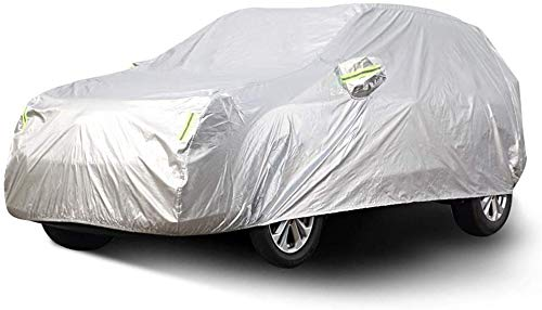 ZGYQGOO SUV Car Cover Sedan Cover, wasserdicht Winddicht staubdicht Kratzfest im Freien UV-Schutz volle Autoplanen für Renault Captur Geländewagen, Silber (Größe: 2018)