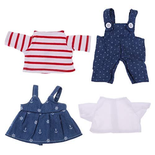 FLAMEER Niedlicher Puppen Hosenträger Jeansrock & T Shirt Für 25cm Mellchan Babypuppe ACCS