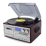 Tocadiscos Vinilo con Bluetooth, Tocadiscos para CD, Casete, Radio Am/FM Entrada Auxiliar, Puerto USB Codificación SD, Control Remoto (Jujube)