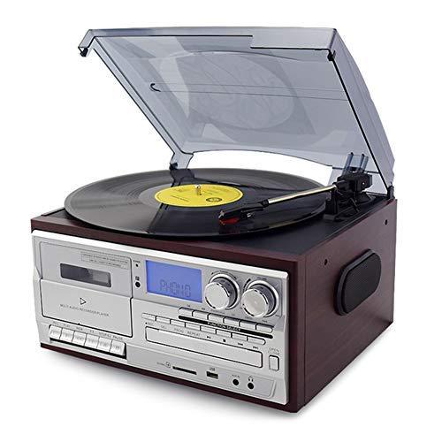 Tocadiscos Vinilo con Bluetooth, Tocadiscos para CD, Casete, Radio Am FM Entrada Auxiliar, Puerto USB Codificación SD, Control Remoto (Jujube)