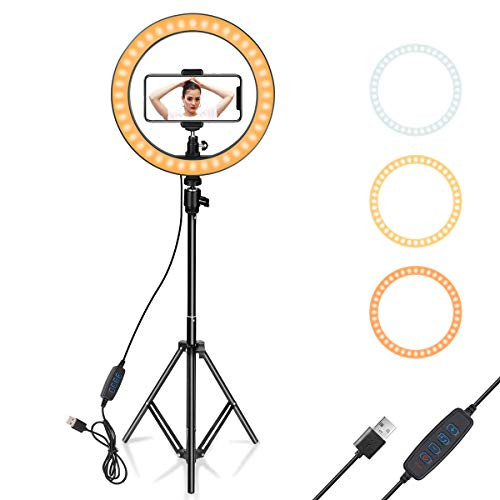 Ring Light 10' with Tripod Stand & Phone Holder for YouTube Video, Desktop...