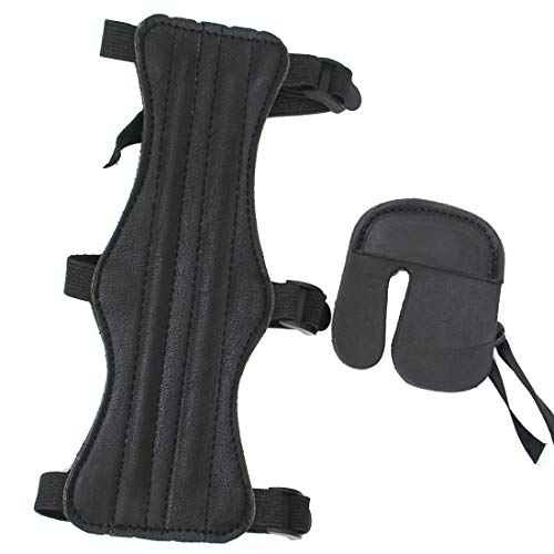 HRCHCG Archery Arm Guard 3 Straps with Finger tab for Recurve Bow Compound Bow Traditional Bow American Hunting Bow Hunting Shooting Target Accessories