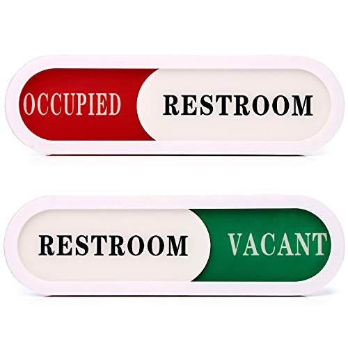 Vacant Occupied Sign for Home Office Hotles Hospital Restroom,Slider Door sign (Tells Whether Room Vacant or Occupied), 6.69'' x 1.96''