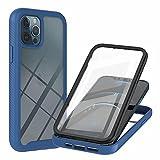 TTNAO Funda iPhone 12 Pro 360 Grados con Protector de Pantalla Incorporado Case Crystal Clear Carcasa [Antigolpes] [Anti-arañazos] Cover-Azul