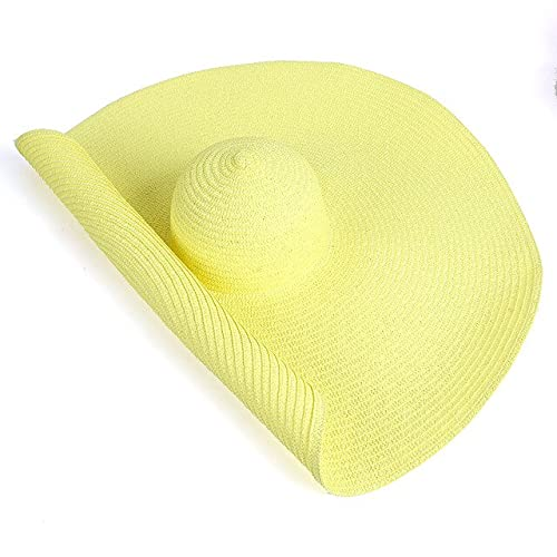 Sombrero de Paja de ala Ancha de 25 CM para Mujer, Sombreros de Playa, Moda para Mujer, Novedad de Verano, protección UV, Gorra Plegable para sombrilla, Sombrero para el Sol-Light Yellow