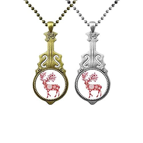Rote Schneeflocke Deer Art Deco Geschenkmode Liebhaber Musik Gitarre Anhänger Schmuck Halskette Anhänger
