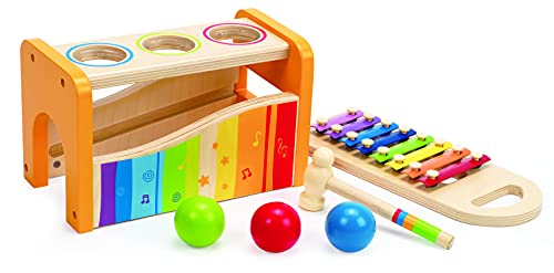 Hape Xylophon und Hammerspiel mit ausziehbarem Xylophon, langlebiges Holzspielzeug für Kleinkinder, multifunktional und in leuchtenden Farben