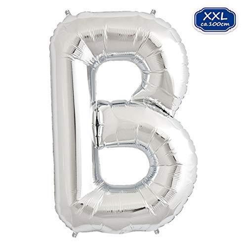 Globo de aluminio con letras en plata – XXL / 100 cm Globo gigante – Globos para aire o helio como cumpleaños, boda, aniversario o graduación, decoración de fiesta [A ~ Z] (plata [B])