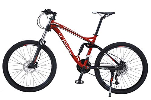 """26 Inch Downhill Mountain Bike Full Suspension 17"""" Aluminum Frame Shimano Bicycle Adult High 27 Speed Brakes Mountain Bikes for Men with MT200 Oil Dish Disc Brake and Bike Shock Fork"""