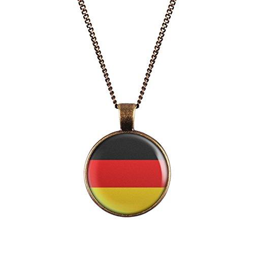 Deutschland Halskette - ca. 70cm lange Kette - Flagge Schland Anhänger Schwarz Rot Gold Flagge Fahne Germany