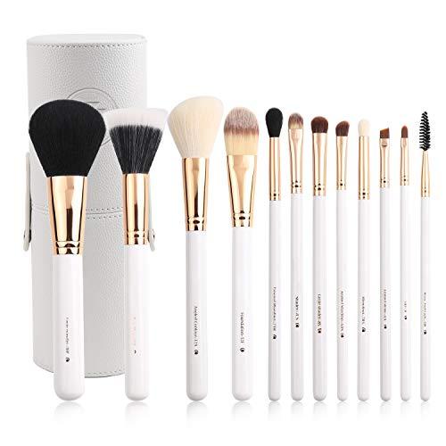 Brosses Pinceaux cosmétiques 12pcs Professionnels avec soies de Fibre synthétique Douce et sans cruauté et détails en Or Rose Maquillage pour Les Femmes (Color : Blanc, Size : Libre)