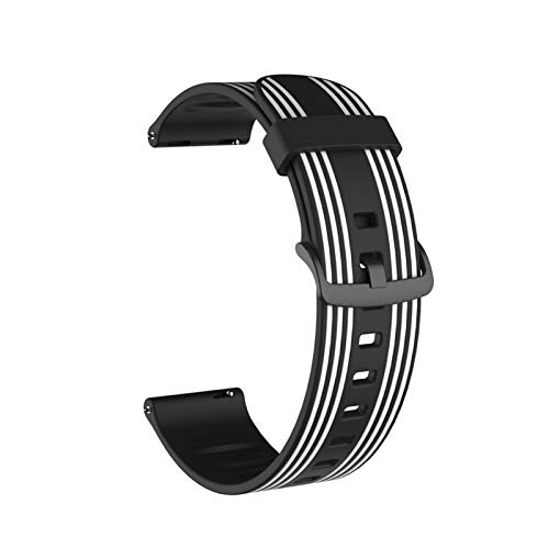ZLRFCOK 20mm 22mm Silicone Sport Correa de reemplazo de Caucho a Rayas for Watch 42mm 46mm S3 Active2 for BIP for Huawei (Band Color : Black White, Band Width : 22mm)