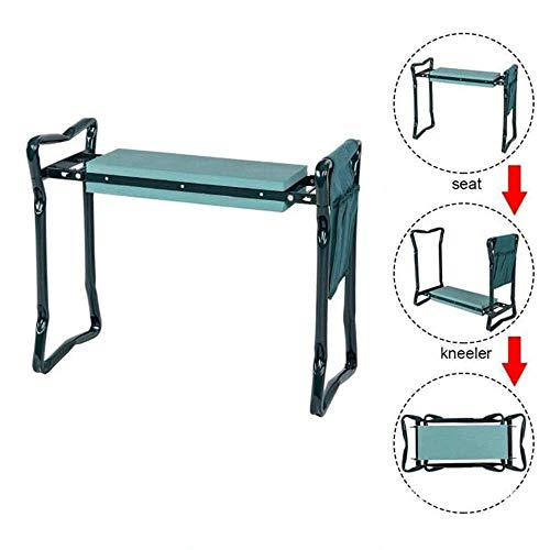 MPZZ Garden Kneeler and Seat,Easy Storage Foldable Garden Bench with 2 Large Tool Pouches Portable Garden Stools EVA Foam Pad with Kneeling Pad