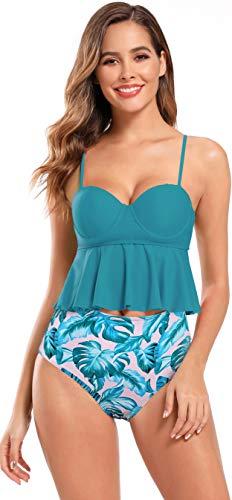 SHEKINI dames tweedelige bikini volant bovenstuk Gebloemde broek gevormde push-up cups met beugel sexy rugvrij Tankini Set XXL