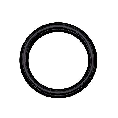 eeddoo Piercing-Ring Segment-Clicker Segment-Ring Schwarz Edelstahl 1,2 mm x 10 mm