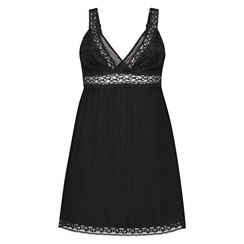 HUNKEMÖLLER Damen Spitzen-Nachtwäsche Slip-Dress mit Spitze und Graphik Schwarz 2XL