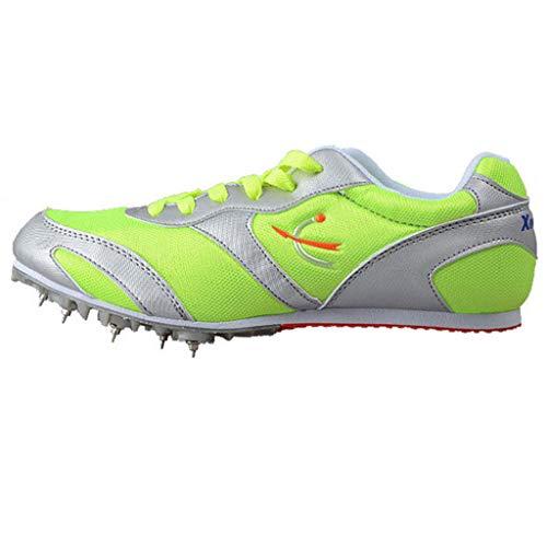 Pista Unisex Y Zapatos De Campo, Resistentes A La Competencia De Zapatos De Entrenamiento De Carrera Profesional Resistentes Al Desgaste,Verde,39