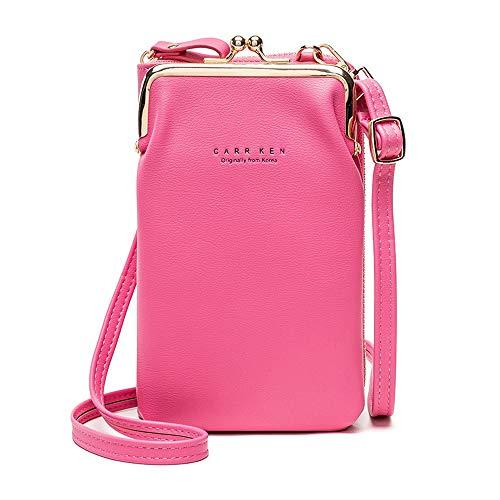 Pequeño bolso cruzado para mujer, bolso de hombro para teléfono móvil, ligero, piel sintética, bloqueo RFID, soporte para tarjetas de crédito