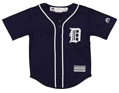 OuterStuff MLB Toddler's Detroit Tigers Cool Base Henley Tee, Navy 2T