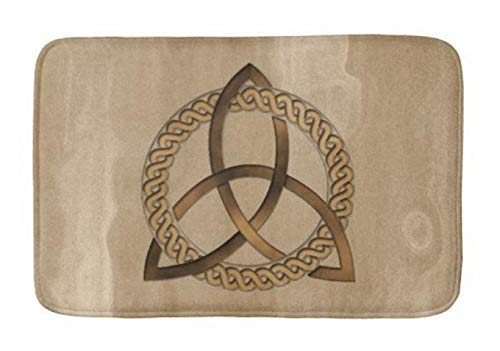 Aomsnet Bathroom Decor Mat, Shower Rug Mat Water Absorbent Fast Drying, for Kitchen, Bedroom, Hotel, Spa Tub 30x18 Inches with Non Slip Backing Bath Mat Celtic Triquetra Trinity Knot