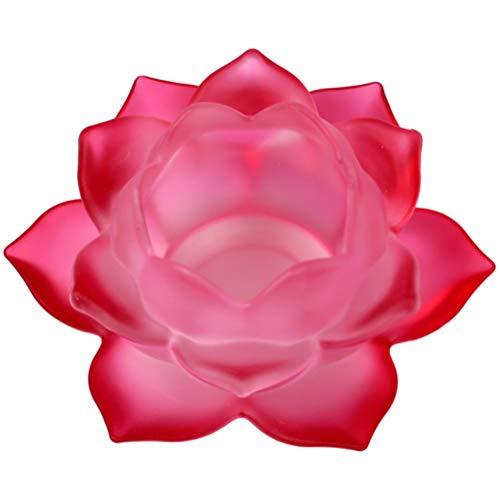 Porte Bougie Rose foncé Lotus en verre