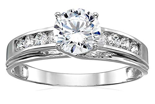 14K White Gold Round Solitaire Cubic Zirconia Engagement Ring, Size 7