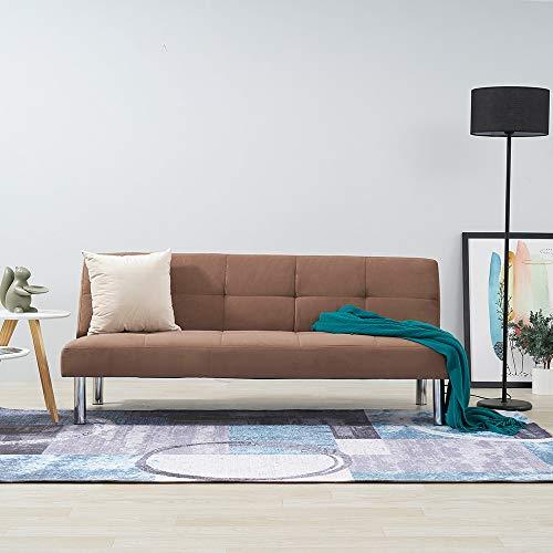 Sofá Cama de Ante sintético de 3 plazas Click-Clack Sofá reclinable