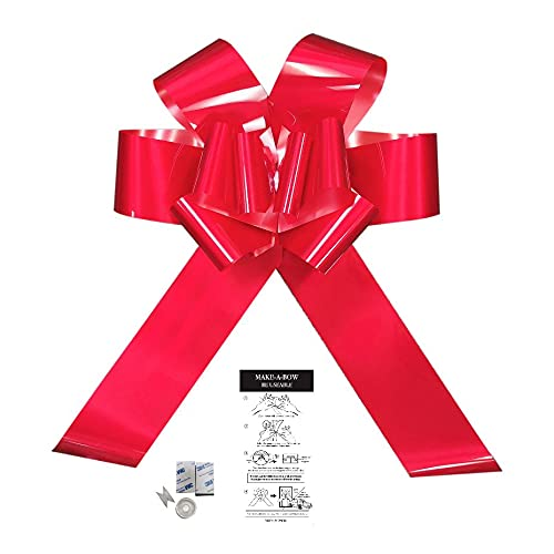 Impulse Fiocco grande rosso 42 cm per compleanno, San Valentino, matrimonio, Natale, auto, bicicletta, fissaggio magnetico con nastri da 99 cm – Si fissa con magneti o ventosa