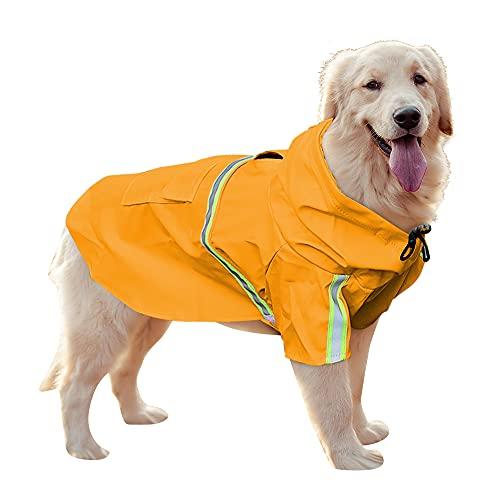 Uktunu Impermeable para Mascotas Ropa para Mascotas Ajustable a Prueba de Agua Impermeable Perro con Tiras Reflectantes Impermeable para Perros con Capucha para Perro Mediano y Grande PU Amarillo 4XL