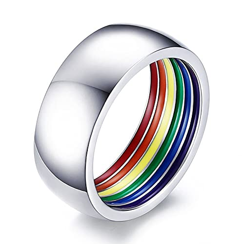 ZFAYFMA Regalos LGBT, Acero Inoxidable 10 mm Anillo de Orgullo Gay Rainbow Anillo de Rayas para Hombres y Mujeres Pareja Anillo de Bodas LGBT, Collar Gay del Arco Iris, Coll Silver-6cm