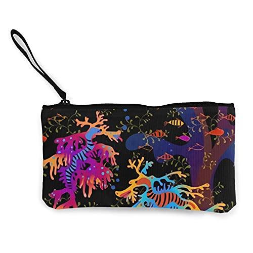 mengmeng Estuche para lápices de maquillaje con asa de lona con cremallera, diseño de dragones de arcoíris