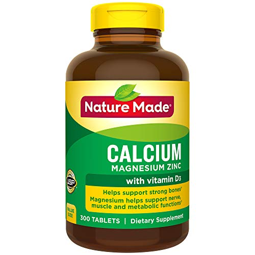 Nature Made Calcium, Magnesium Oxide, Zinc with Vitamin D3 Tablets, 300 Count for Bone Health† (Packaging May Vary)