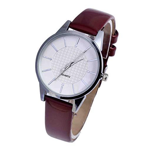 OLUYNG Armbanduhr Neue Temperament Gürtel Quarzuhr Einfache Große Uhr Platte Farbe Leder Paar Uhr Schnaps Rot