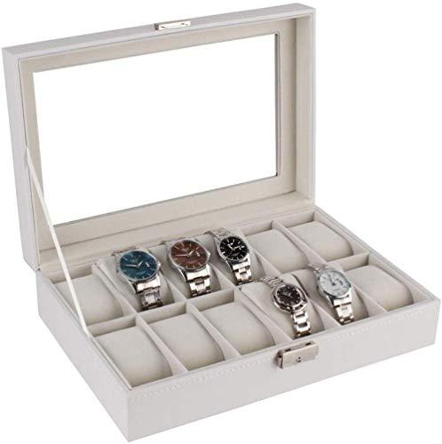 Caja de reloj Caja de reloj Caja Caja de 12 Mostradores Caja de Almacenamiento Caja de Pulsera Blanca Bandeja de Cuero Sintético con Cerradura Organizador Colección