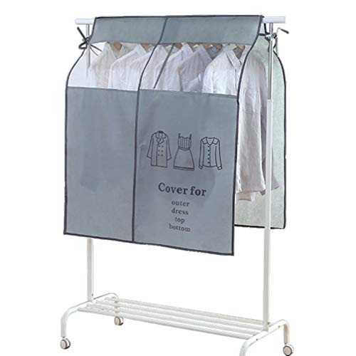 HEMOTON Garment Clothes Cover Protector Closet Storage Bags Waterproof Hanging Clothing Storage Bag Floor Rack Cover Suit Travel Bag for Home Outdoor Grey