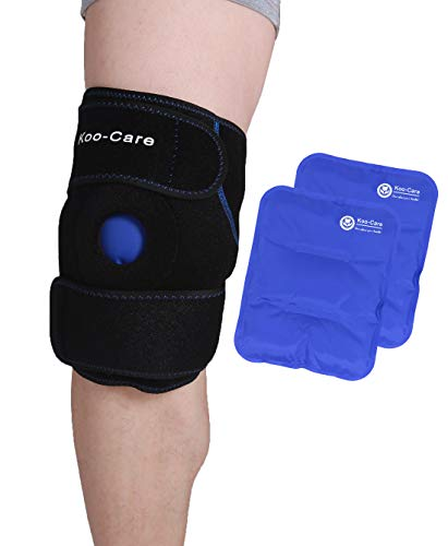 Koo-Care Knee Support Brace with 2 Flexible Gel Ice Pack - Hot Cold Therapy Wrap for Arthritis Pain, Tendonitis, ACL, Athletic Injury - 9.9' x 7.9'