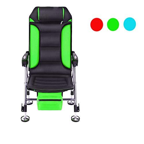 AHXF 8-Bein Karpfenliege - Deluxe Bedchair Bis 150 Kg Belastbar - Bequeme Und Breite Angelliege Mit Kopfteil - Stufenlos Verstellbare Füße (Color : Green)