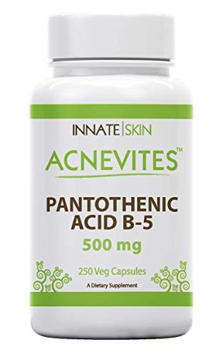 Innate Skin Acnevites Pantothenic Acid 500MG Vitamin B-5 Capsules - 250 Capsules with Vitamin Supplements for Hair, Skin, and Nails