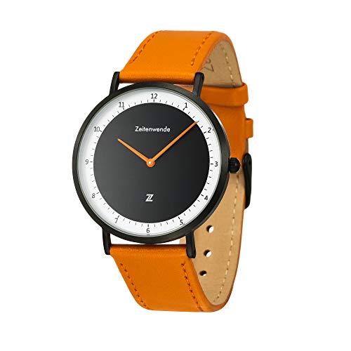 Zeitenwende Herren-Uhr Klassik-Serie schwarz/Zweilagiges italienisches Leder-Armband in orange/Schweizer Uhrwerk