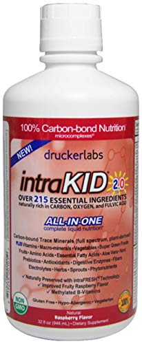 DRUCKER LABS IntraKID 2.0 - Organic Liquid Trace Minerals, Multivitamin and Multi-Nutritional Dietary Supplement for Children (32 Ounces / 946 Milliliters, Raspberry Flavor)