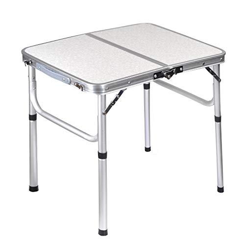 Mesa de aluminio de mesa de camping plegable, mesa al aire libre ajustable de altura, mango portátil a prueba de intemperie y tabla a prueba de oxidación, adecuado para picnic al aire libre Playa Back