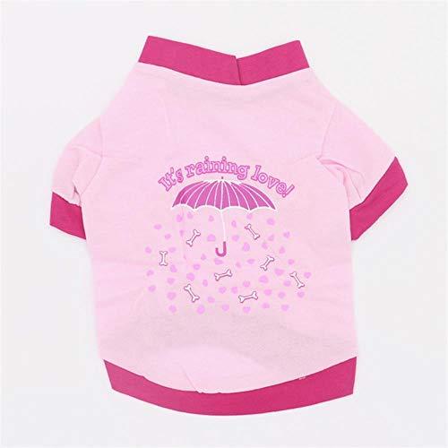 FHKGCD T-Shirt per Gattino per Cani con Stampa Ombrello Rosso/Rosa Atumn A Molla per Cani di Piccola Taglia, Ombrello Rosa, S