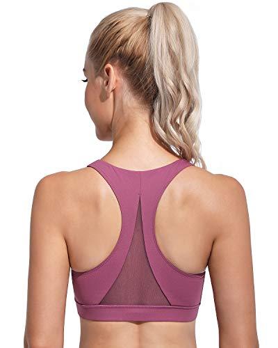 OMANTIC. Sujetadores deportivos con la espalda cruzada, para mujer, soporte medio, para yoga, correr, gimnasio, fitness - rosa - Large