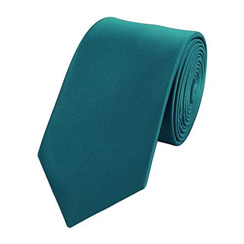 Fabio Farini Schmale 6-cm Slim Krawatte verschiedenen Farben, geeignet für Arbeit, Hochzeit oder Ball (one size, Petrol)