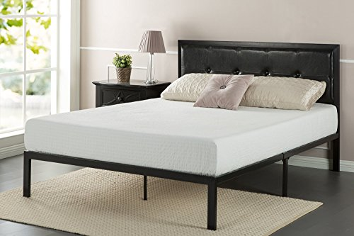 Zinus Cherie Faux Leather Classic Platform Bed Frame with Steel Support Slats, Full