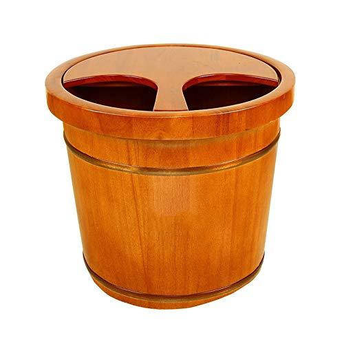 CHY Bois Pied Pédicure Spa Bassin for Tremper Les Pieds Fatigués Et Endoloris, Pédiluve Seau Et Soaker Bowl, 35cm (Color : Wood Color)