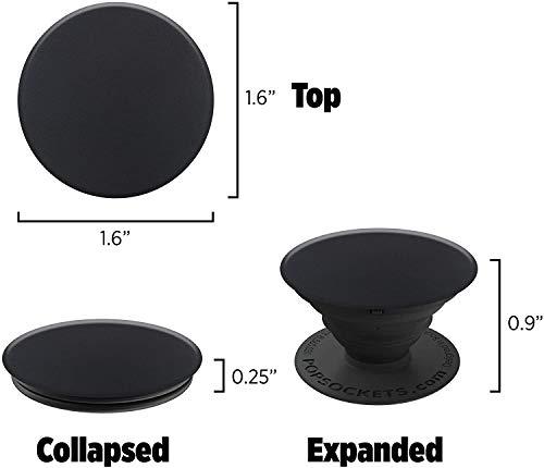 PopSockets - Ausziehbarer (Nicht Austauschbarer) Sockel und Griff für Smartphone und Tablet - Schwarz