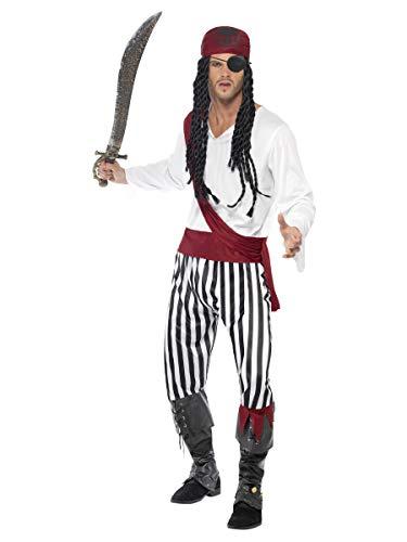 Smiffys Herren Piratenkostüm, Hemd, Hose, Kopfbedeckung und Gürtel, Größe: L, 25783